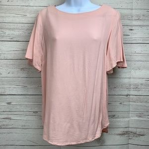 H&M Women's Blush Pink Blouse Short Flowy Sleeves